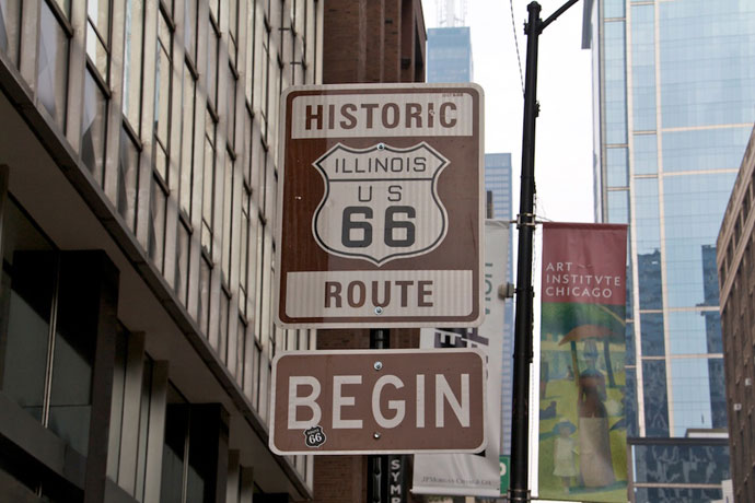 Starten på Route 66 i Chicago