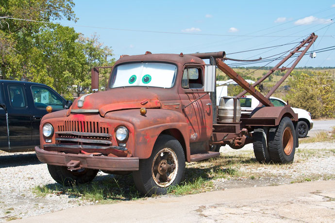 Tow Mater i Galena på Route 66