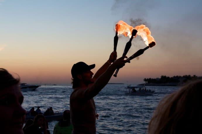 Solnedgang på Mallory Square i Key West