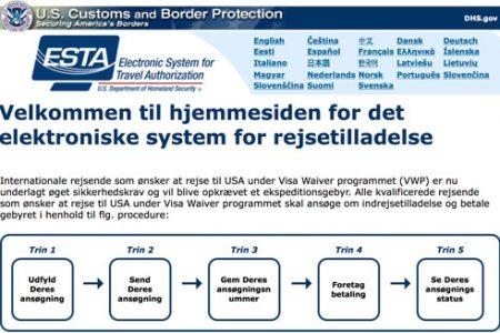 ESTA – Det elektroniske system for rejsetilladelse