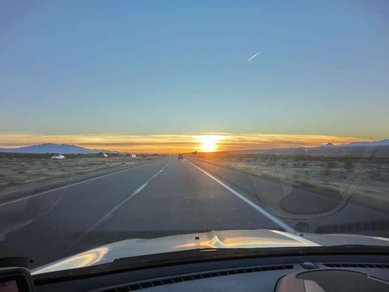Interstate sunset towards Las Vegas