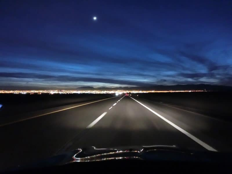 Night view of Las Vegas from interstate.