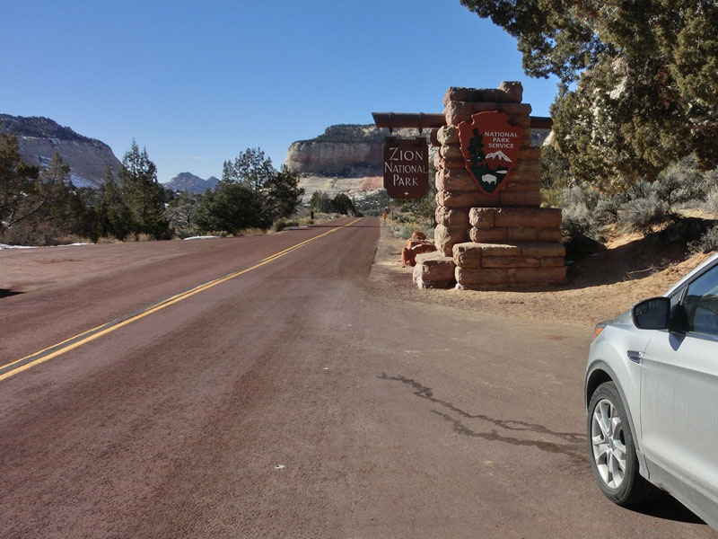 East entrance to Zion National Park.