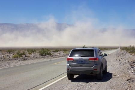 Sandstorm i Death Valley og Whitney Portal