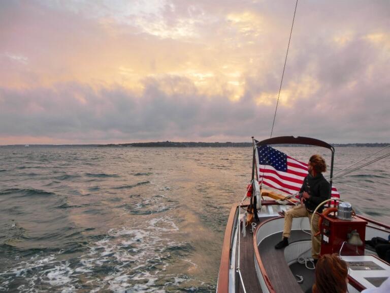 Solnedgang og aften i Newport, Rhode Island